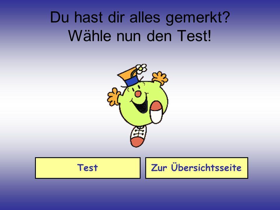 Du hast dir alles gemerkt Wähle nun den Test!