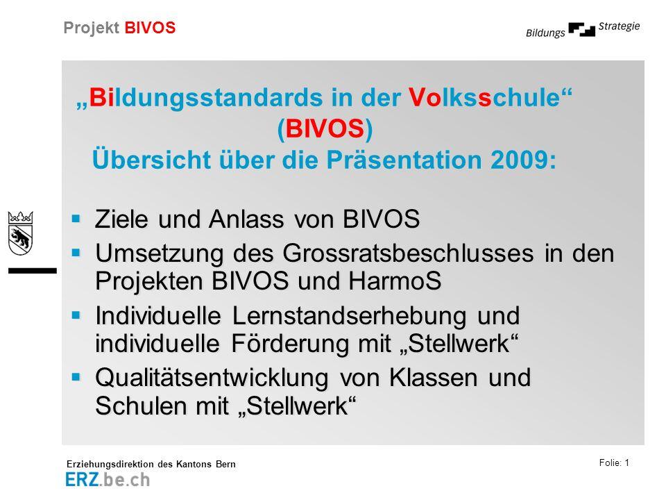"""""""Bildungsstandards in der Volksschule (BIVOS) Übersicht über die Präsentation 2009:"""