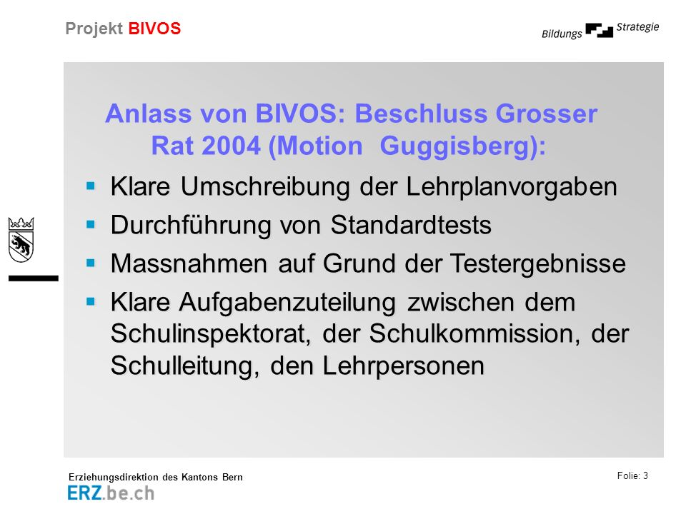 Anlass von BIVOS: Beschluss Grosser Rat 2004 (Motion Guggisberg):