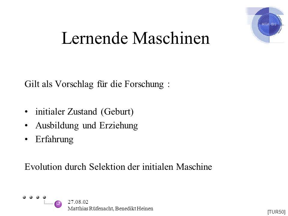 Lernende Maschinen Gilt als Vorschlag für die Forschung :