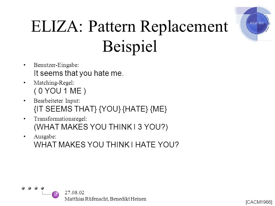 ELIZA: Pattern Replacement Beispiel