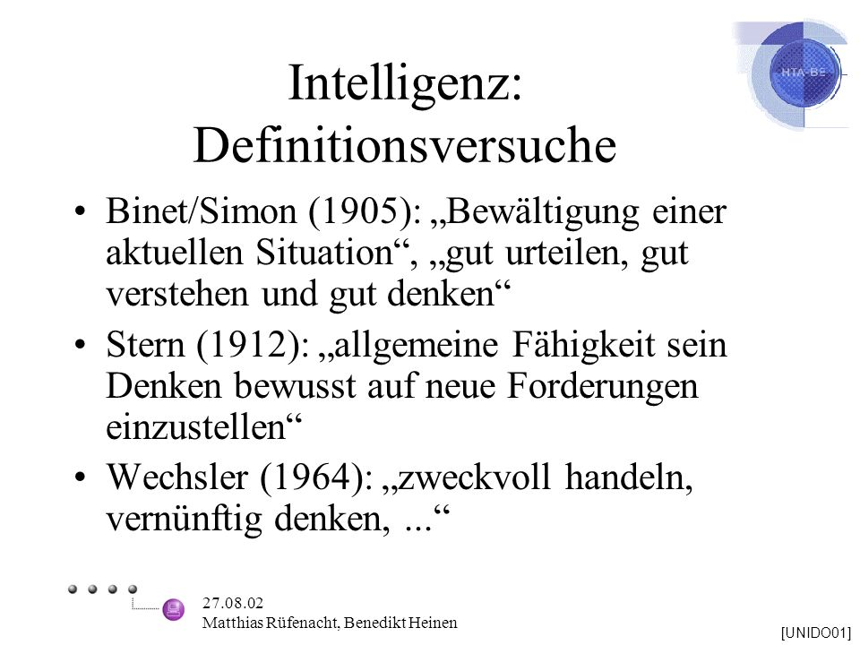 Intelligenz: Definitionsversuche