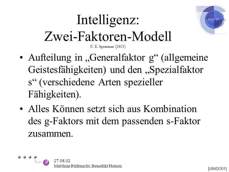 Intelligenz: Zwei-Faktoren-Modell C. E. Spearman (1923)