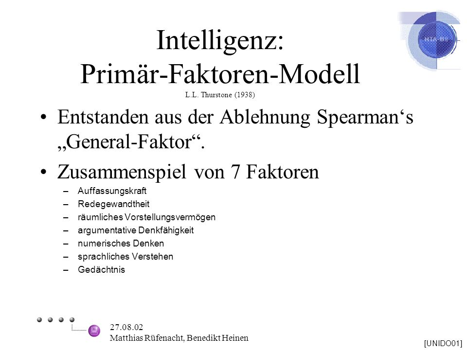 Intelligenz: Primär-Faktoren-Modell L.L. Thurstone (1938)
