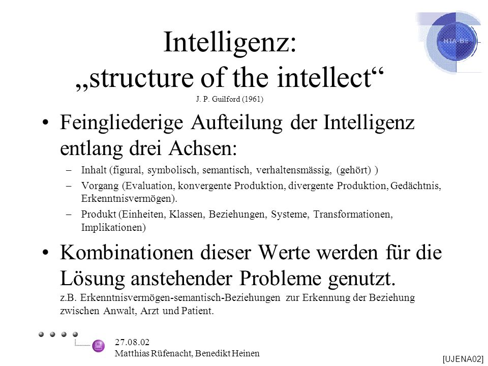 "Intelligenz: ""structure of the intellect J. P. Guilford (1961)"