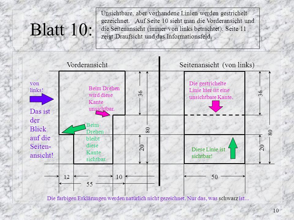 Blatt 10: Vorderansicht Seitenansicht (von links)