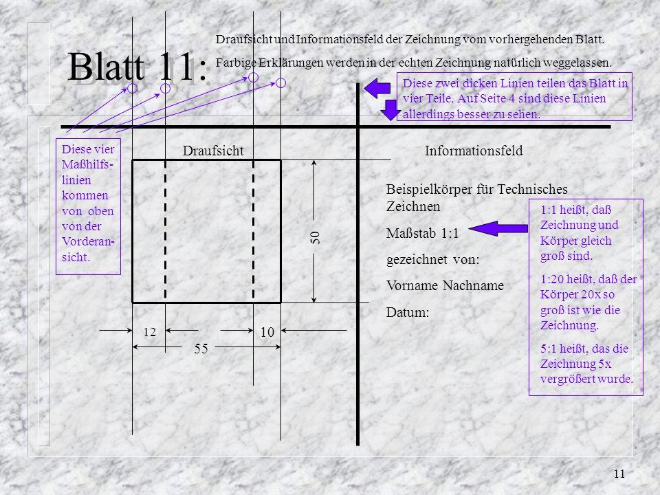 Blatt 11: Draufsicht Informationsfeld