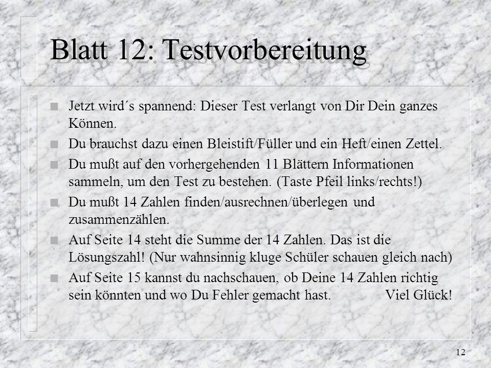 Blatt 12: Testvorbereitung