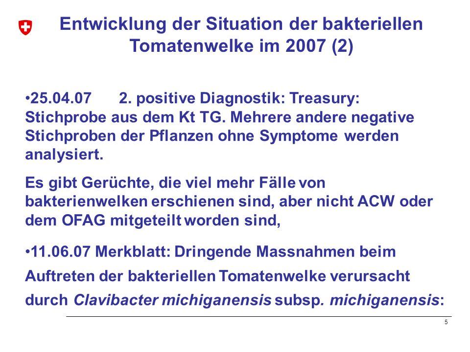 Entwicklung der Situation der bakteriellen Tomatenwelke im 2007 (2)