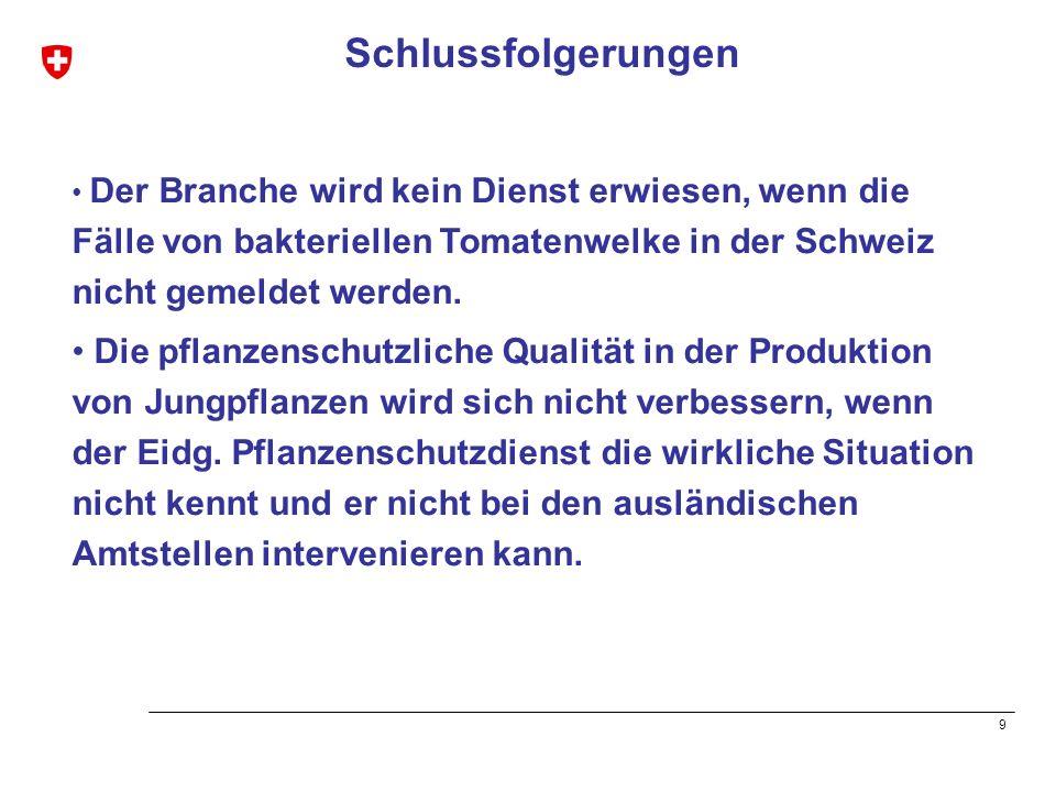Schlussfolgerungen Der Branche wird kein Dienst erwiesen, wenn die Fälle von bakteriellen Tomatenwelke in der Schweiz nicht gemeldet werden.