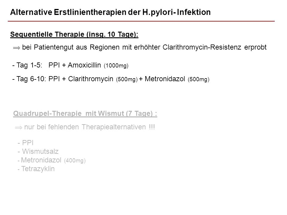 Alternative Erstlinientherapien der H.pylori- Infektion
