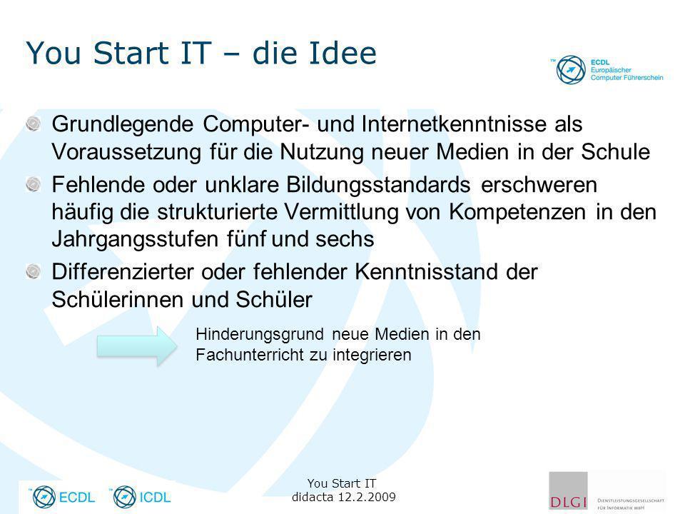 You Start IT – die Idee Grundlegende Computer- und Internetkenntnisse als Voraussetzung für die Nutzung neuer Medien in der Schule.