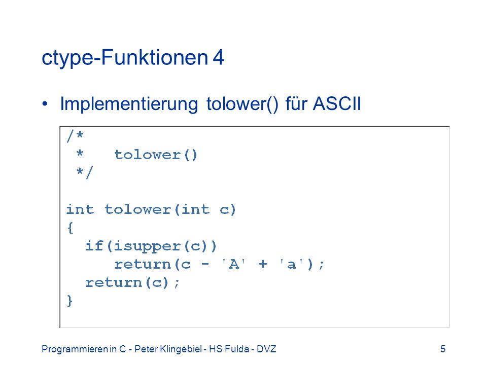 ctype-Funktionen 4 Implementierung tolower() für ASCII
