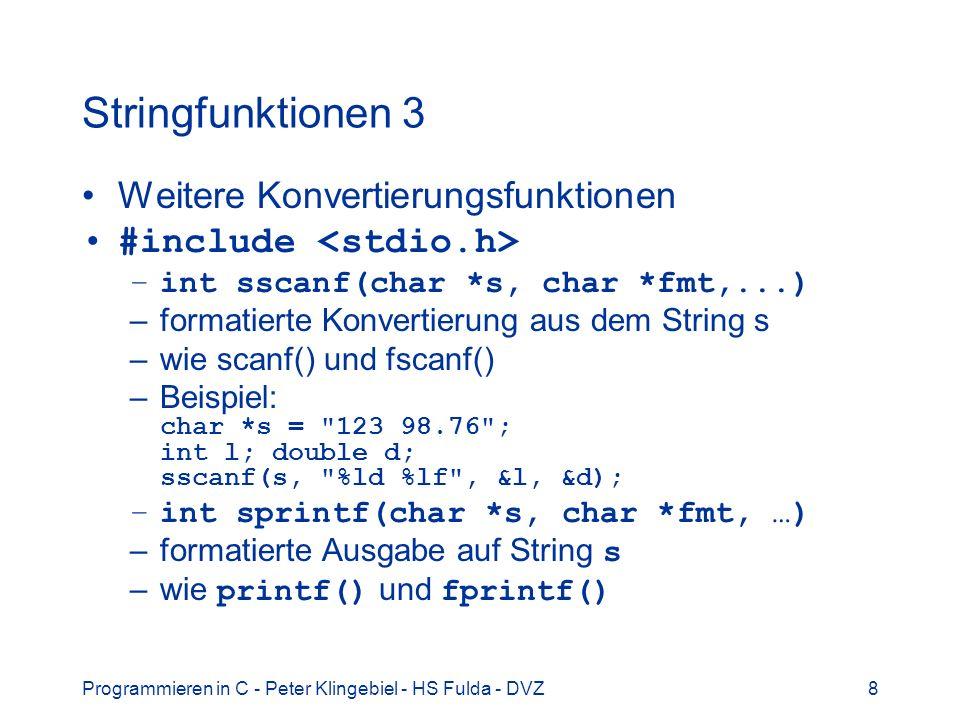 Stringfunktionen 3 Weitere Konvertierungsfunktionen