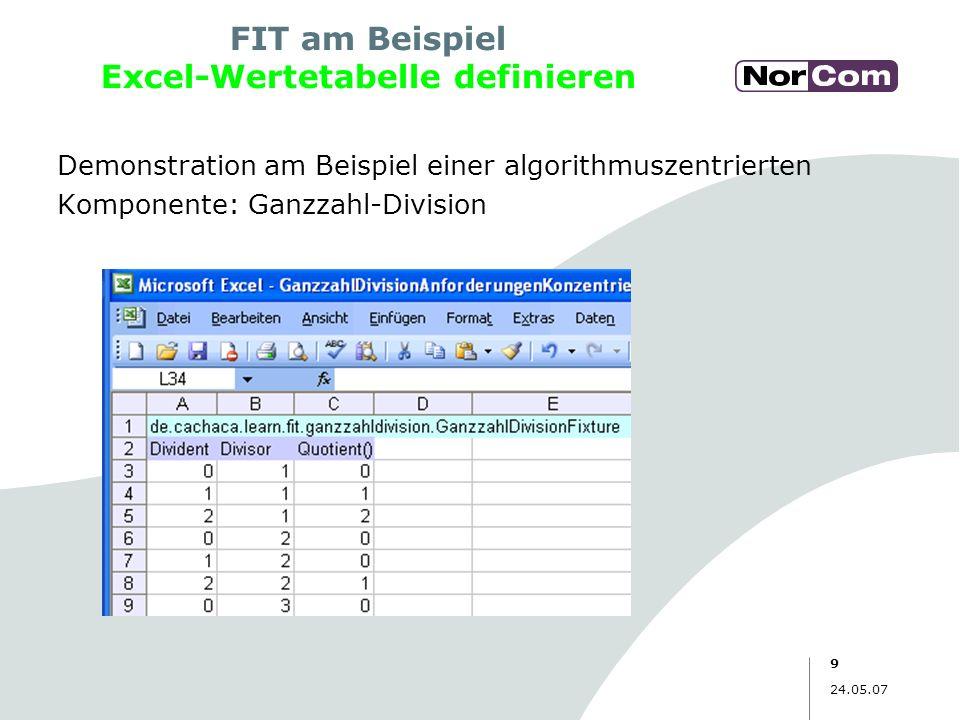 FIT am Beispiel Excel-Wertetabelle definieren