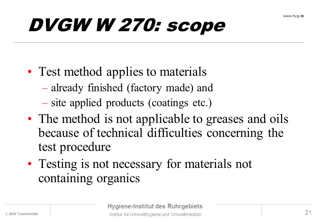 DVGW W 270: scope Test method applies to materials