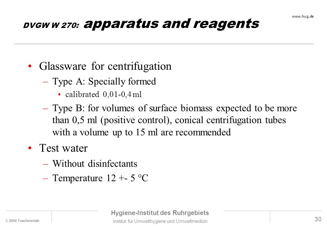 DVGW W 270: apparatus and reagents
