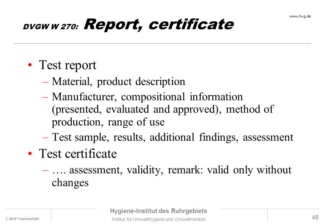 DVGW W 270: Report, certificate