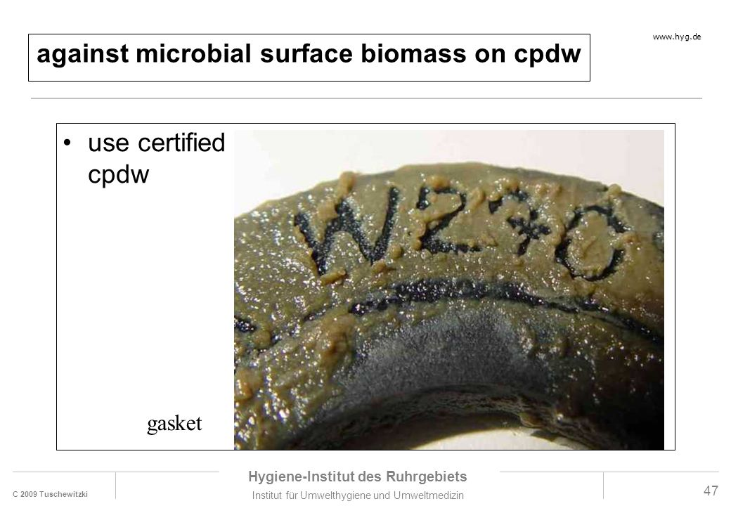 against microbial surface biomass on cpdw