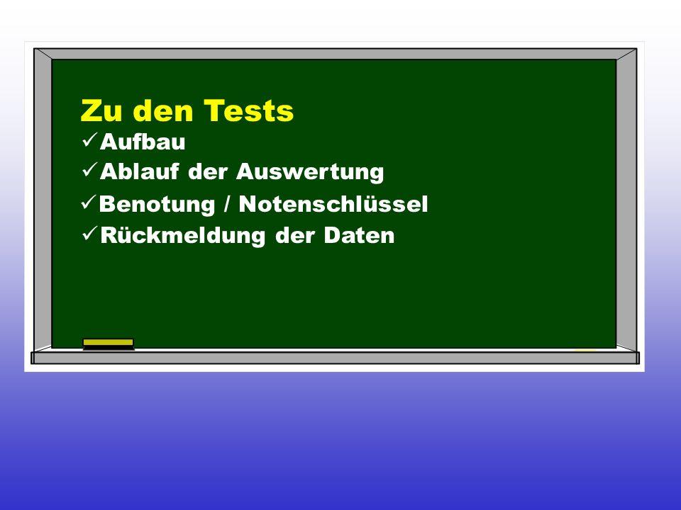 Zu den Tests Aufbau Ablauf der Auswertung Benotung / Notenschlüssel