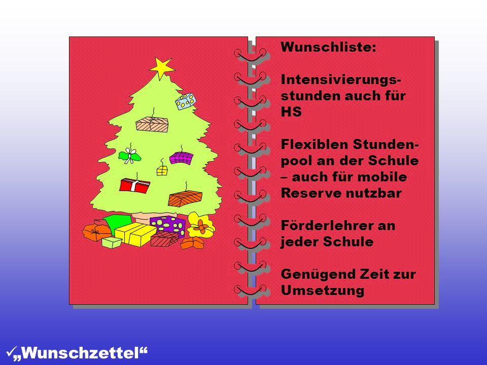 """""""Wunschzettel Wunschliste: Intensivierungs-stunden auch für HS"""