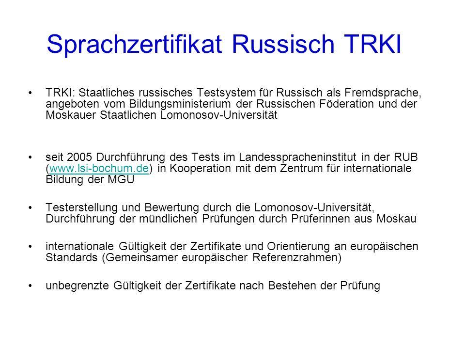 Sprachzertifikat Russisch TRKI