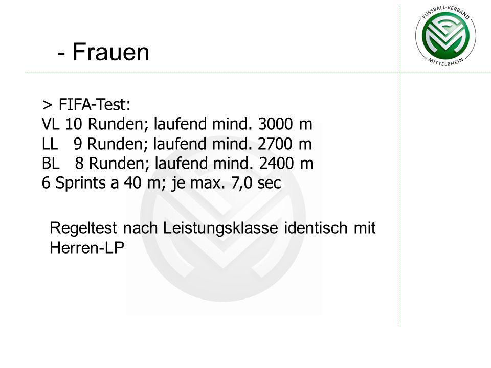 - Frauen > FIFA-Test: VL 10 Runden; laufend mind. 3000 m