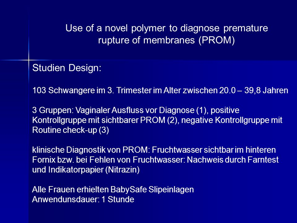 Use of a novel polymer to diagnose premature