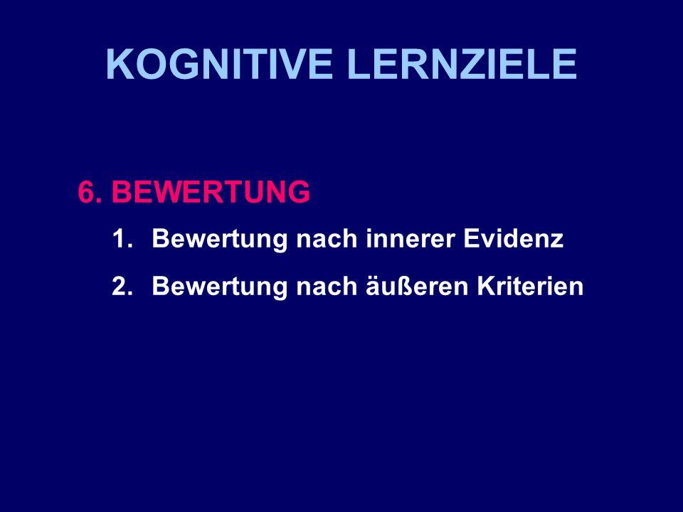 KOGNITIVE LERNZIELE 6. BEWERTUNG Bewertung nach innerer Evidenz