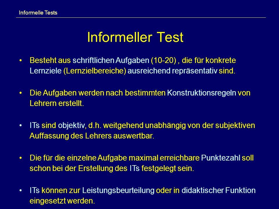 Informelle Tests Informeller Test.