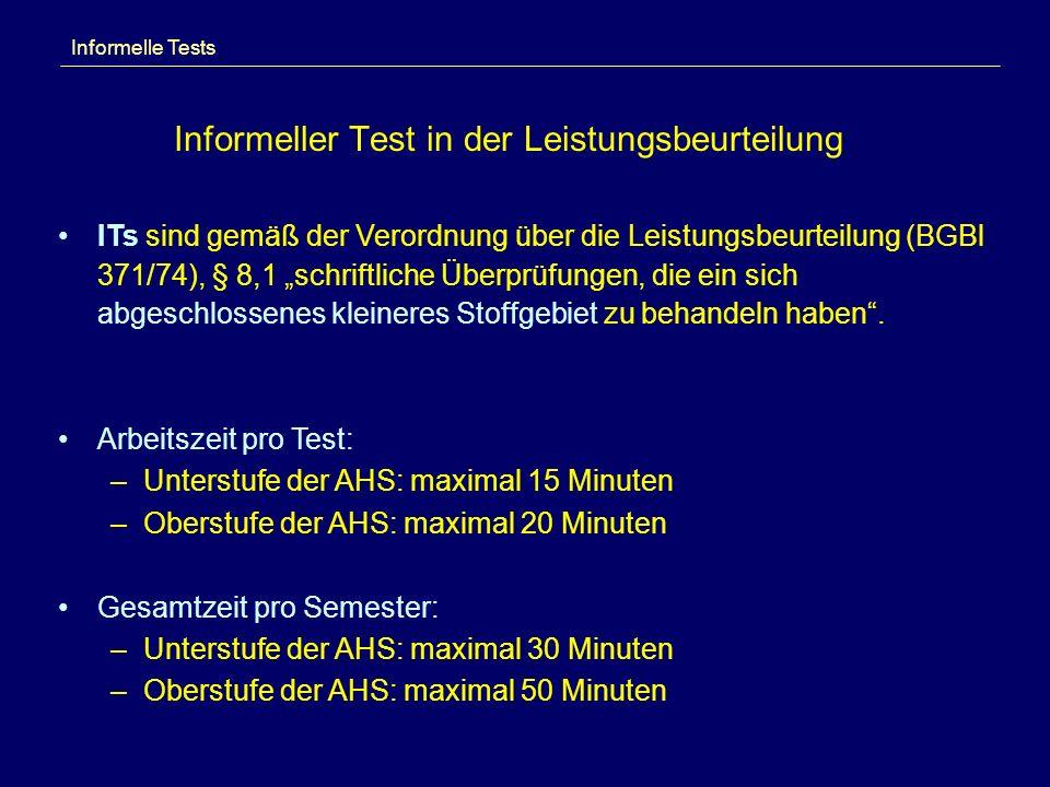 Informeller Test in der Leistungsbeurteilung