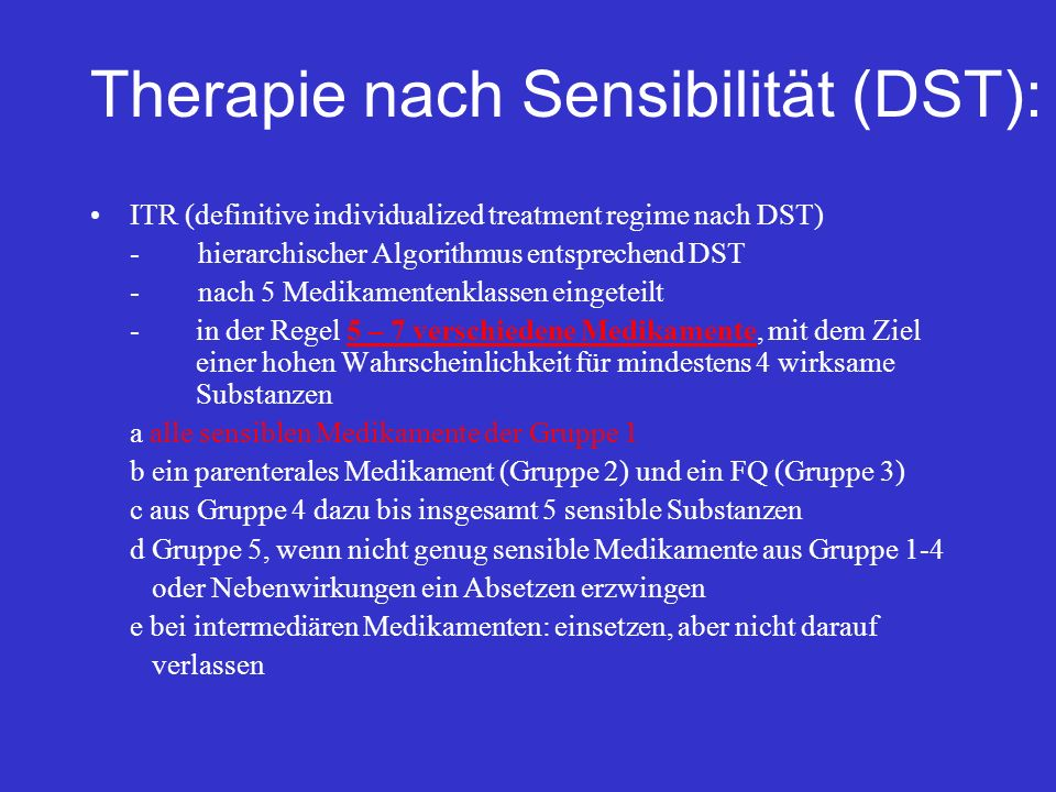 Therapie nach Sensibilität (DST):