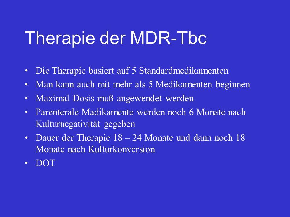 Therapie der MDR-Tbc Die Therapie basiert auf 5 Standardmedikamenten