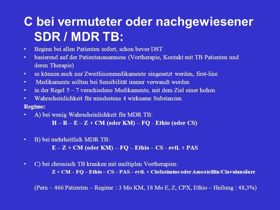 C bei vermuteter oder nachgewiesener SDR / MDR TB: