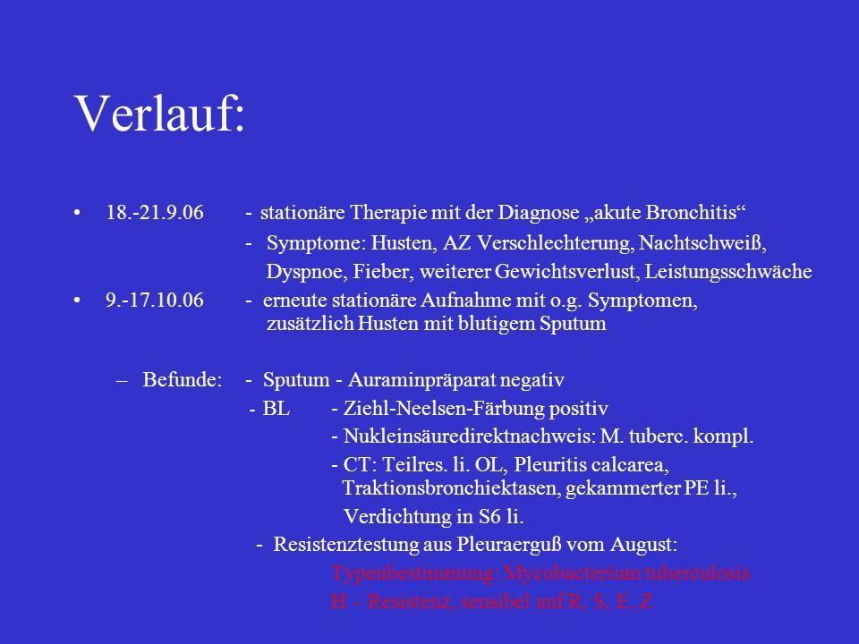 """Verlauf: 18.-21.9.06 - stationäre Therapie mit der Diagnose """"akute Bronchitis Symptome: Husten, AZ Verschlechterung, Nachtschweiß,"""