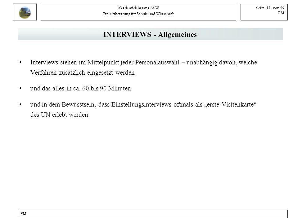 INTERVIEWS - Allgemeines