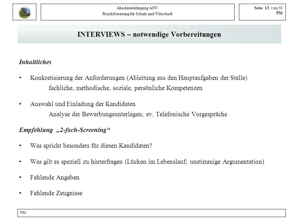 INTERVIEWS – notwendige Vorbereitungen
