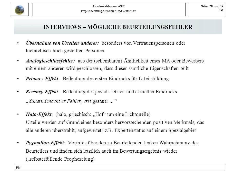 INTERVIEWS – MÖGLICHE BEURTEILUNGSFEHLER