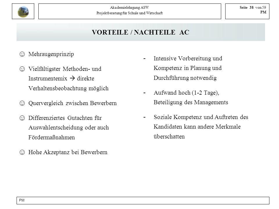 VORTEILE / NACHTEILE AC