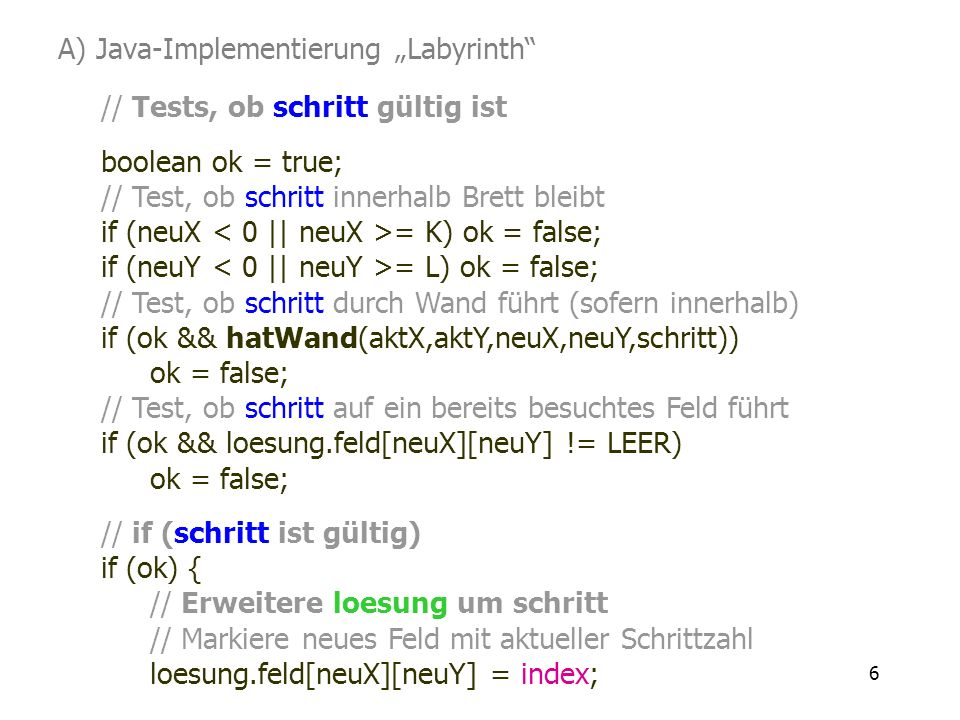 "A) Java-Implementierung ""Labyrinth"