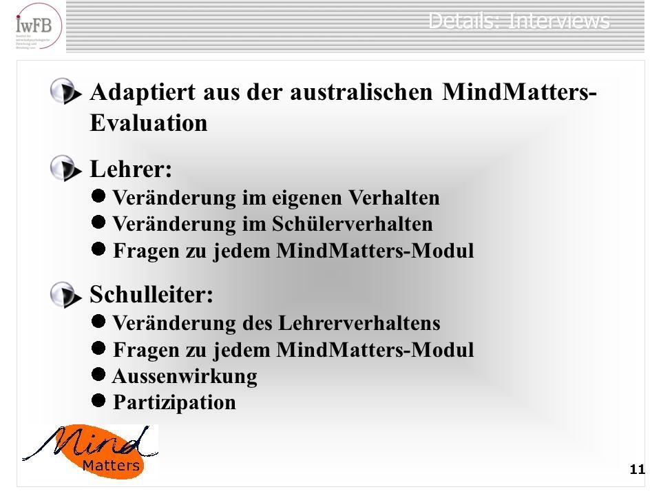 Adaptiert aus der australischen MindMatters-Evaluation