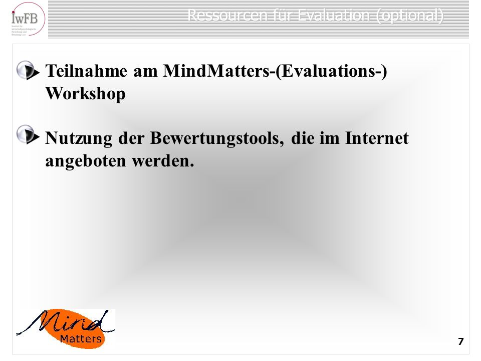 Ressourcen für Evaluation (optional)