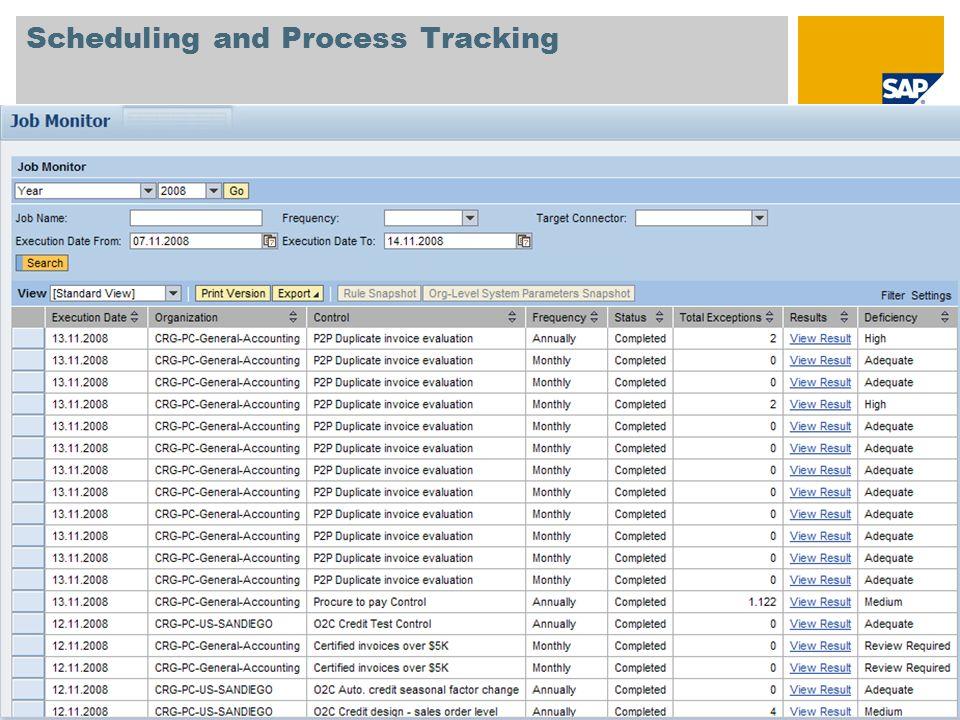 Scheduling and Process Tracking