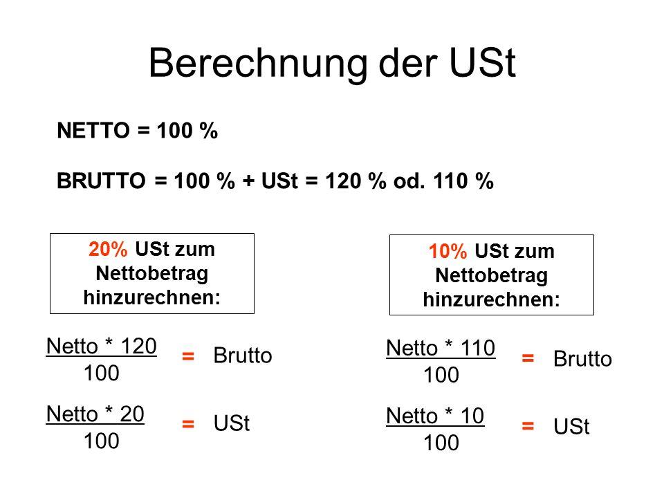 Berechnung der USt NETTO = 100 %