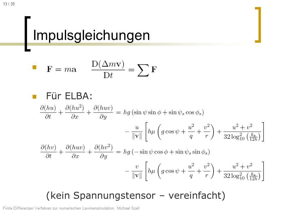 Impulsgleichungen Für ELBA: (kein Spannungstensor – vereinfacht)