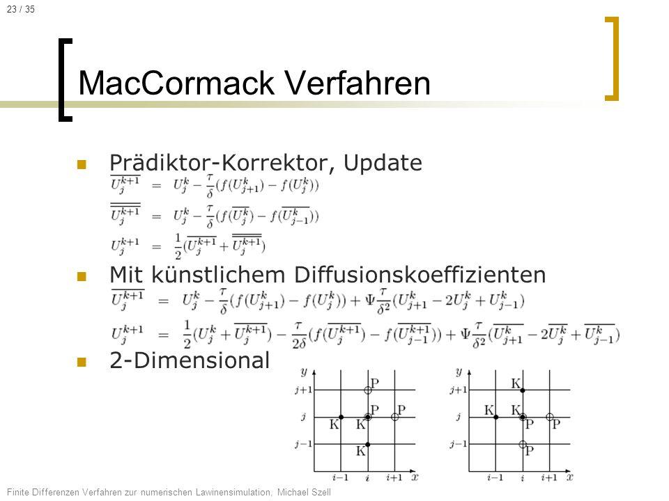 MacCormack Verfahren Prädiktor-Korrektor, Update