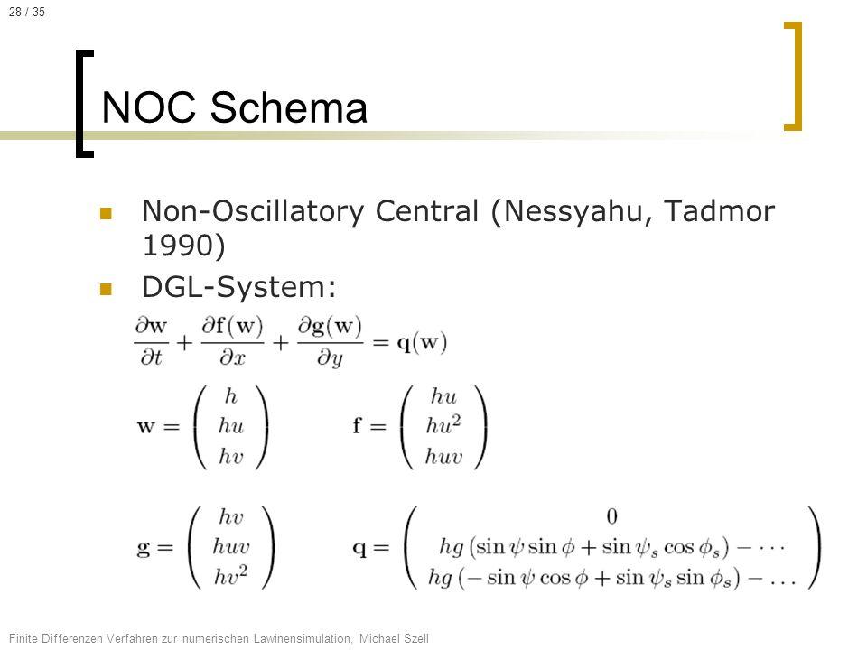 NOC Schema Non-Oscillatory Central (Nessyahu, Tadmor 1990) DGL-System:
