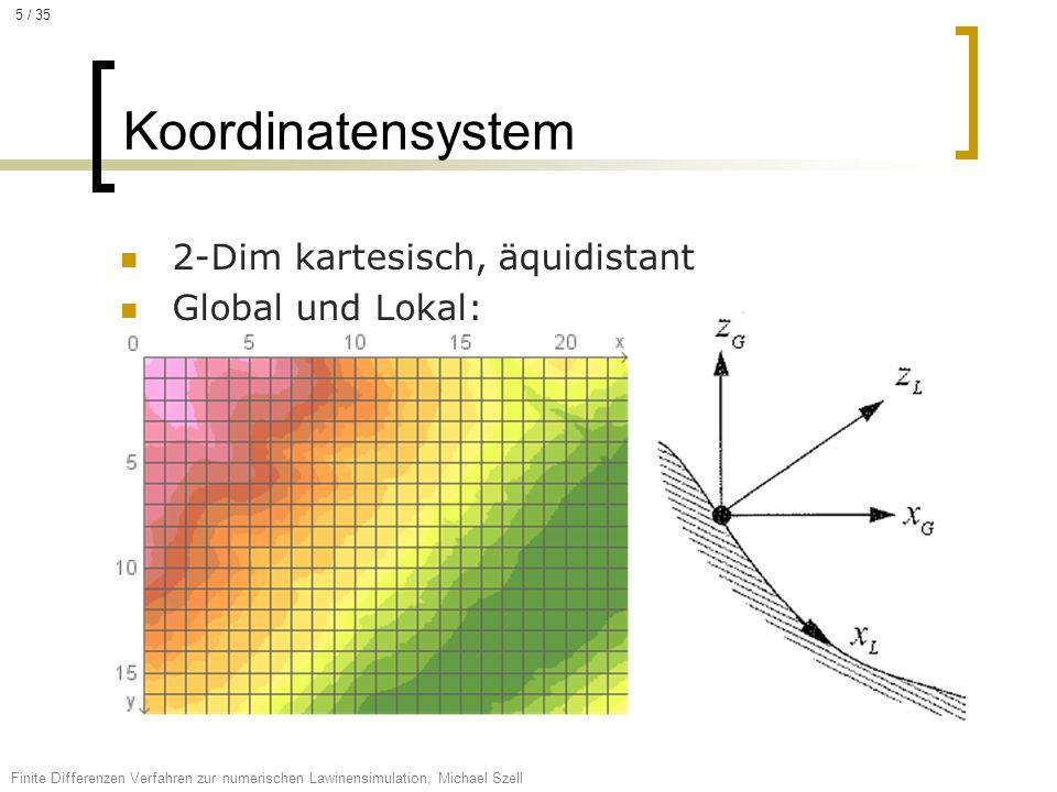Koordinatensystem 2-Dim kartesisch, äquidistant Global und Lokal: