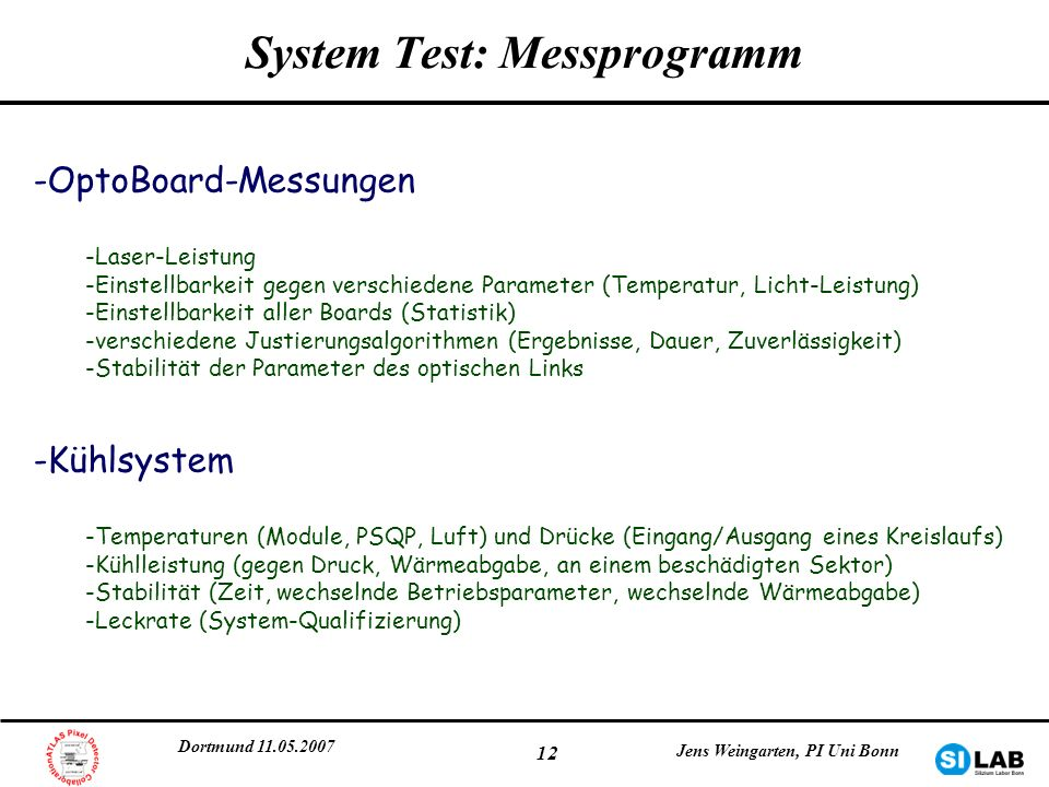 System Test: Messprogramm