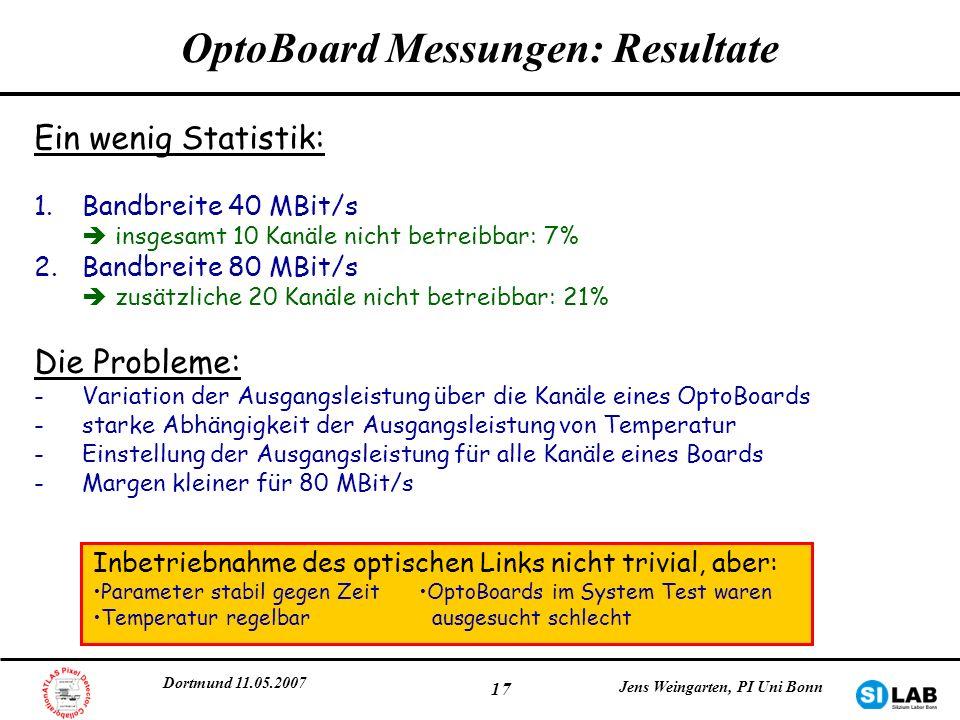 OptoBoard Messungen: Resultate